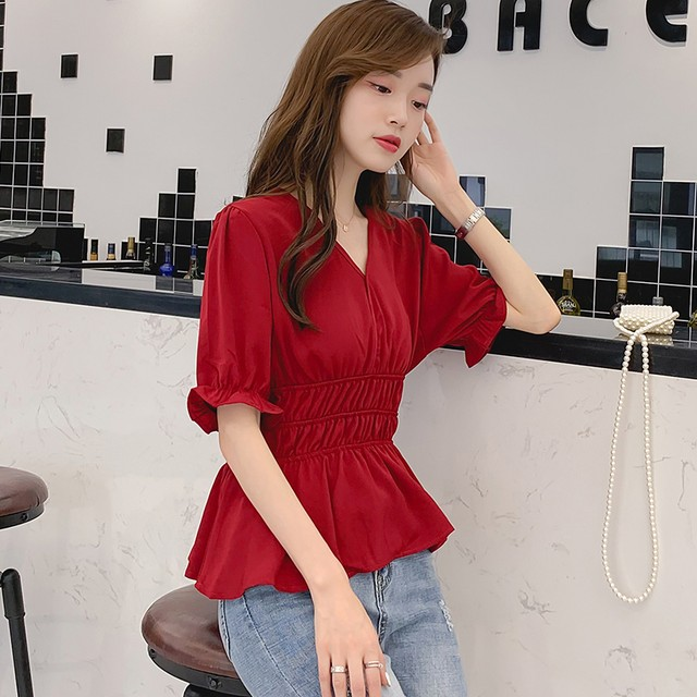 シャツ ブラウス トップス レディースファション 着痩せ シンプル 可愛い デート 韓国風 フェアリー 合わせやすい ゆったり Vネック 五分袖 大きいサイズ S M L LL 3L レッド 赤い