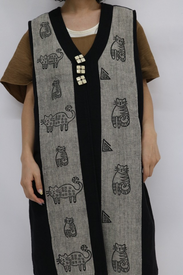 cotton cat design vest / 5SSTP02-17