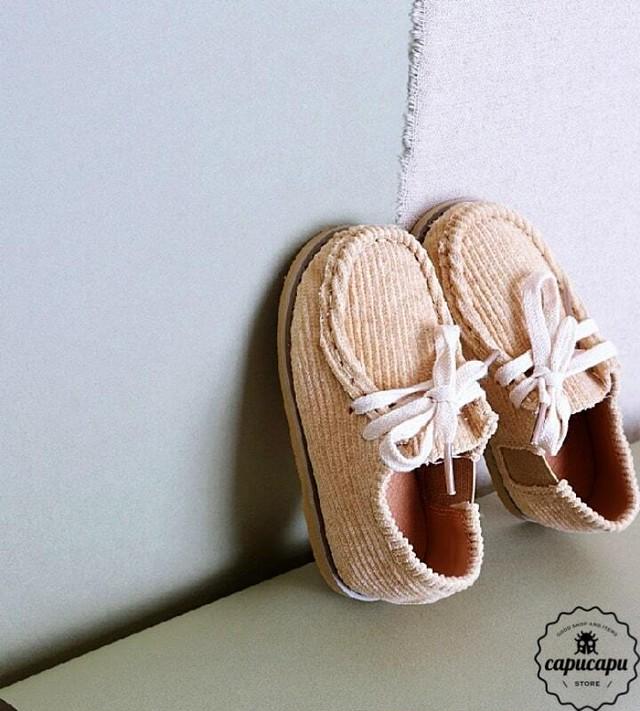 «予約» corduroy shoes 2colors コーデュロイ キッズシューズ