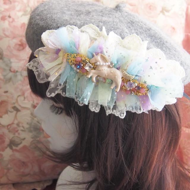 【11/2 21:00-】ポワポワベレー帽 ファンシーユニコーン グレー