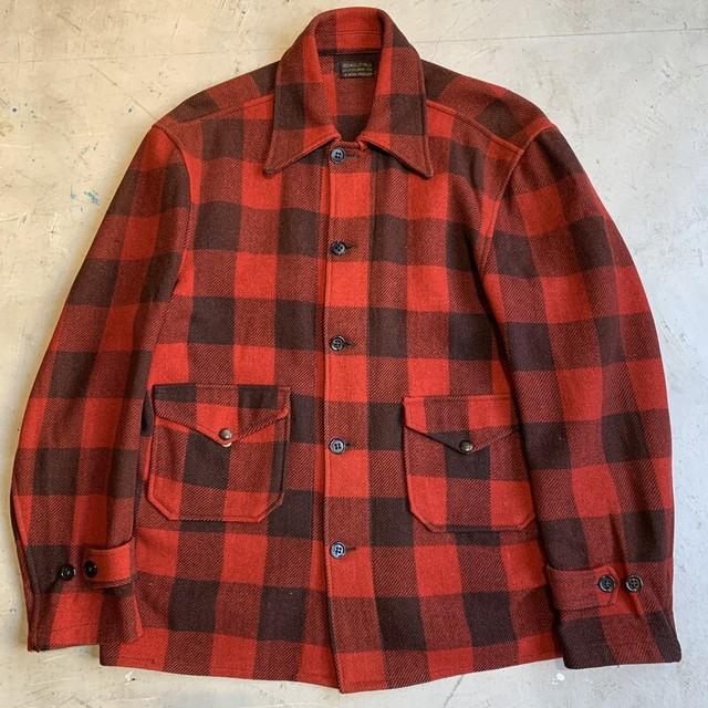 30's 40's SOO WOOLEN MILLS  バッファローチェックウールジャケット ハンティング 赤 黒 裏地無し 木製ボタン 珍ポケット L~XL相当 希少 ヴィンテージ BA-1351 RM1720H