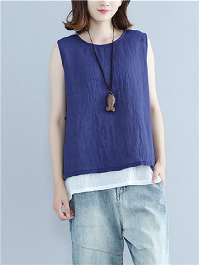 【tops】Fashion design white chiffon vest