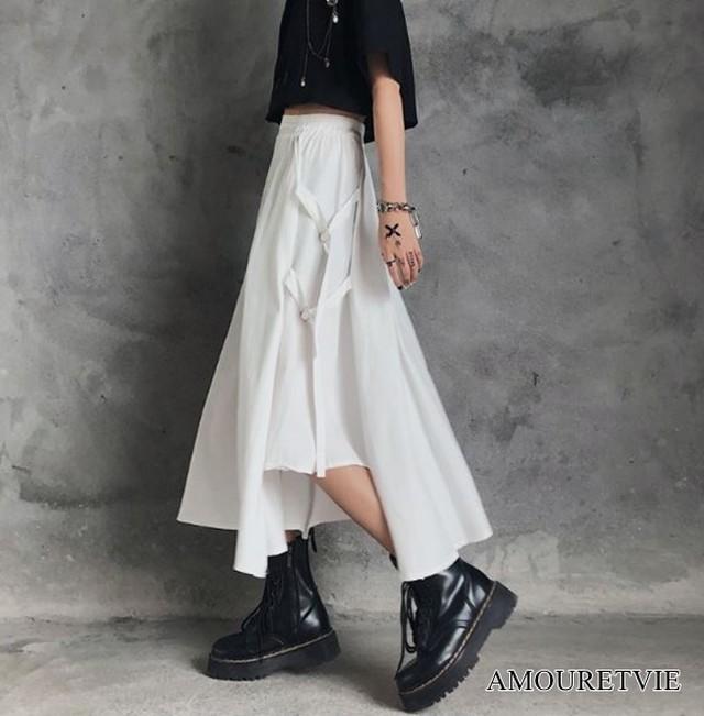 ロングスカート カジュアル アシンメトリー 白 ホワイト 黒 ブラック スタイリッシュ ピープス オルチャン 韓国ファッション 1486