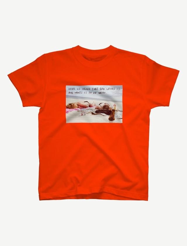 【悩み無用の開放ビーチ】Tシャツ(カリフォルニアオレンジ)