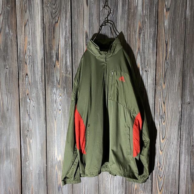 [adidas]khaki × red rare pattern jacket