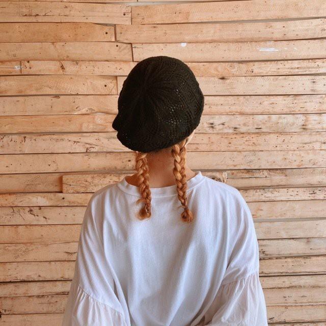 クロシェベレー帽 ブラック
