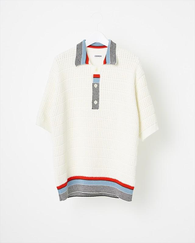 【COOHEM MEN】テックニットポロシャツ: ホワイト