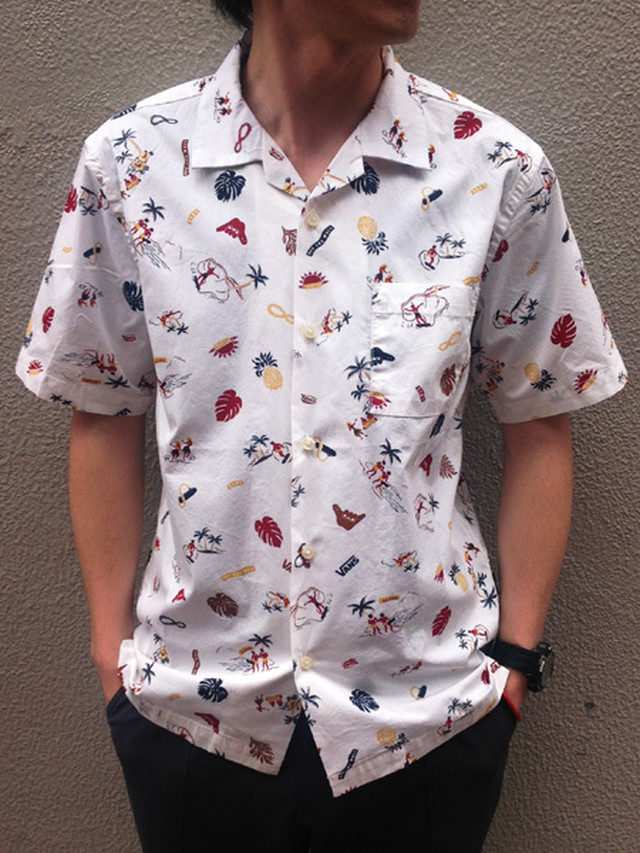 SALE!! VANS(バンズ) ALOHA Over Dye Open Collar S/S Shirts(アロハシャツ) White(ホワイト)
