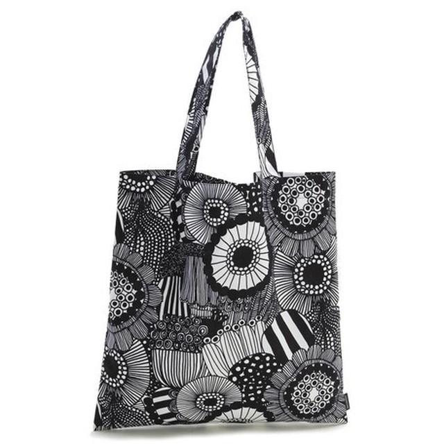 Marimekkoマリメッコ SIIRTOLAPUUTARHA COTTON BAG  ブラック 【キッチン雑貨/Brounie1】