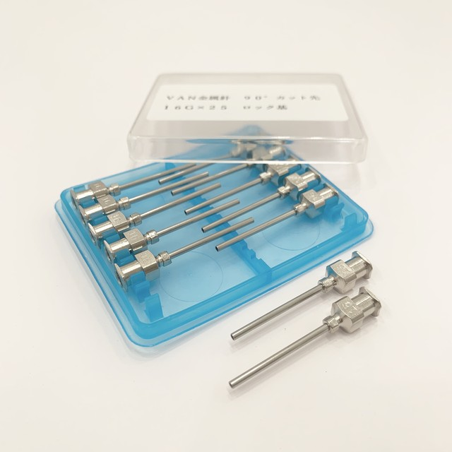 【工業・実験/研究用】 VAN金属針 90°カット先 16G×25 12本入(医療機器・医薬品ではありません)