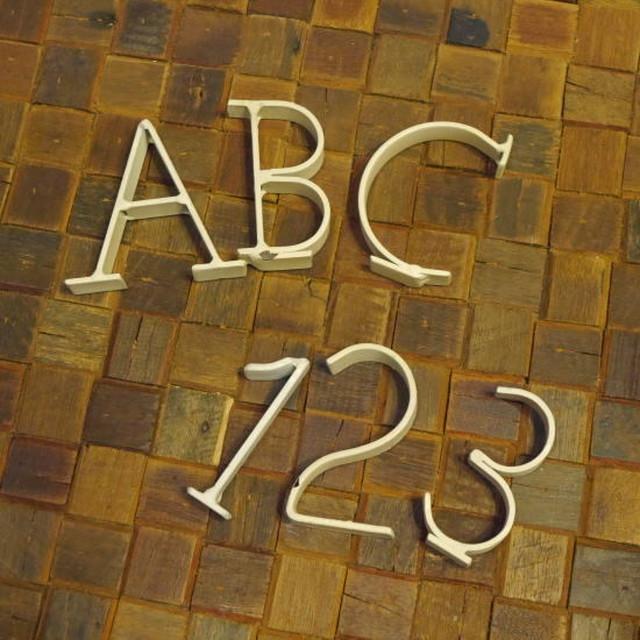 アルファベット&ナンバースチールオブジェ アイボリー