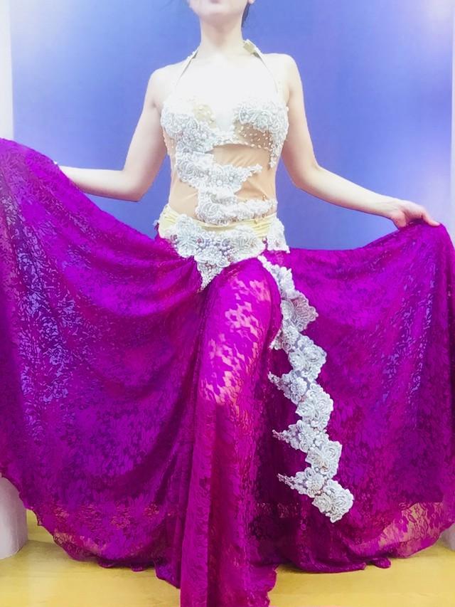 エジプト製ベリーダンス衣装 ピンク&豹柄 マーメイドスカート