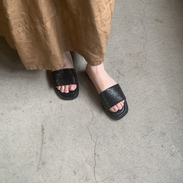 Line Stones Flat Sandal|ラインストーンフラットサンダル_【Ought=na】OT9270