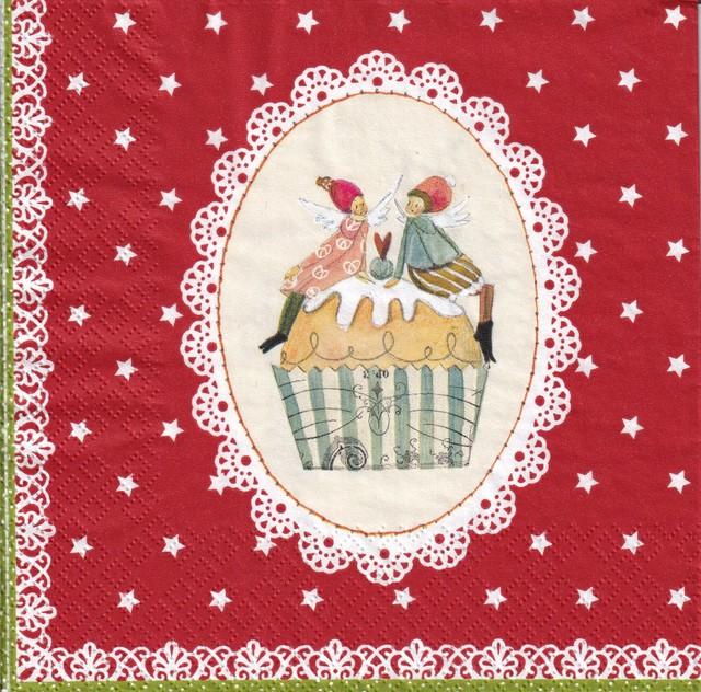 最終入荷【Gratz Verlag】バラ売り2枚 ランチサイズ ペーパーナプキン SWEET CHRISTMAS レッド