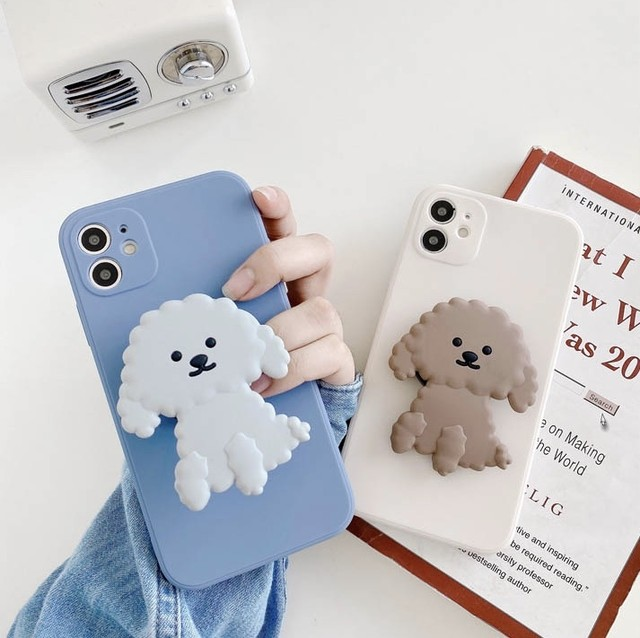 グリップ付き Cute dog iphone case
