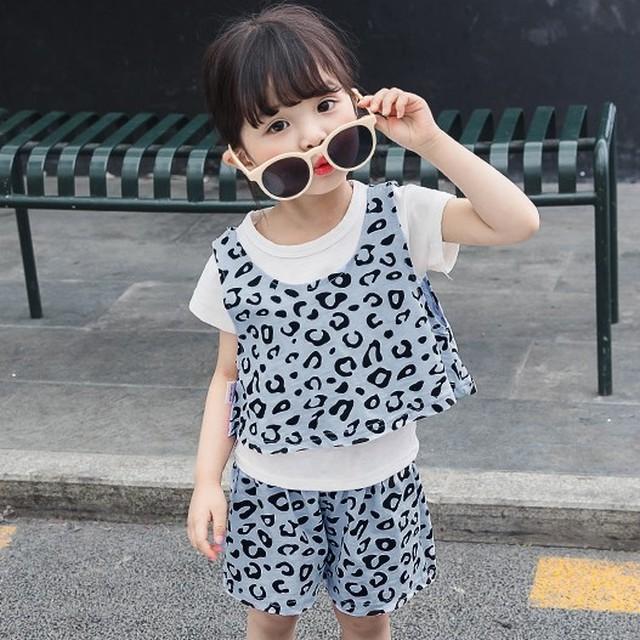 【セット】超かわいいヒョウ柄多色半袖ラウンドネックプリント綿生地夏·セットアップ27302913