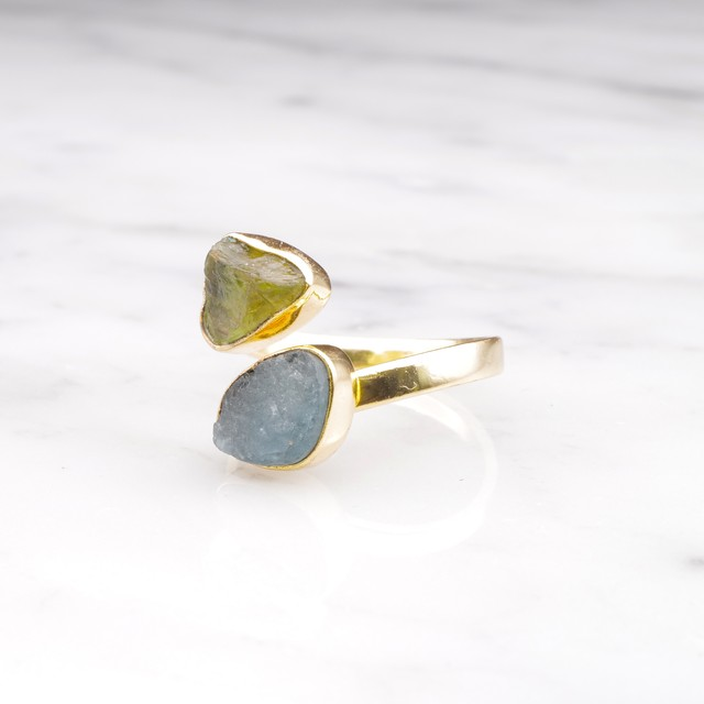 DOUBLE DIFFERENT STONE OPEN RING 010