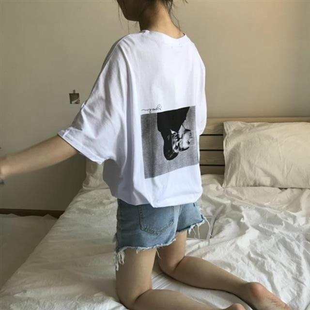 プリントホワイト半袖Tシャツ