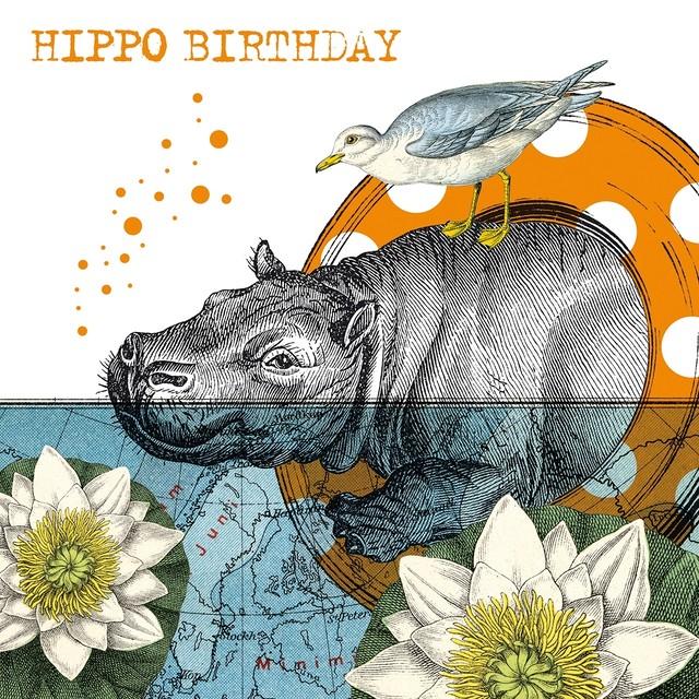 完売再入荷【Paperproducts Design】バラ売り2枚 ランチサイズ ペーパーナプキン HIPPO BIRTHDAY ホワイト