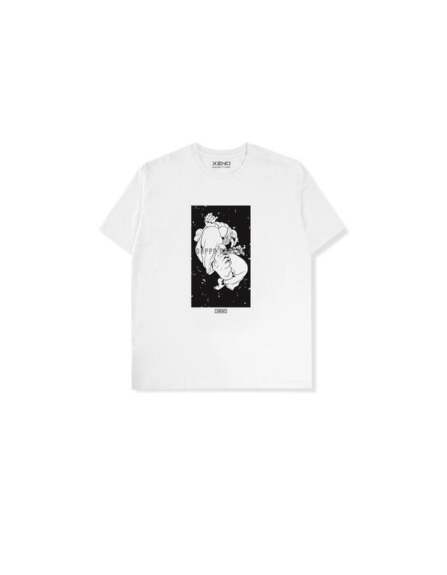 """XENO x BAKI Collaboration T-shirt """"DOPPO"""" White"""