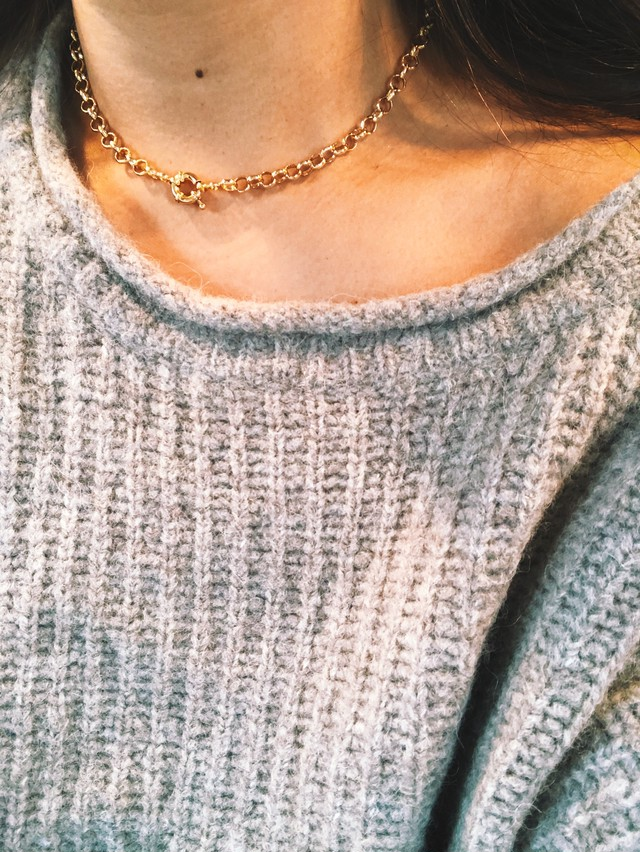 Solid Circle Link Chain Necklace