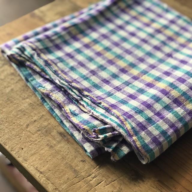 インドの手仕事布  風呂敷 青×緑×紫チェック Mula セレクト