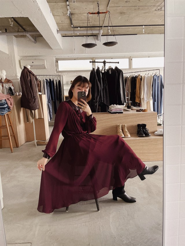 """""""Ranjy"""" vintage sheer dress -purple-"""