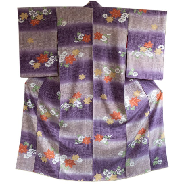 紫匹田文様 横段に菊と紅葉 小紋