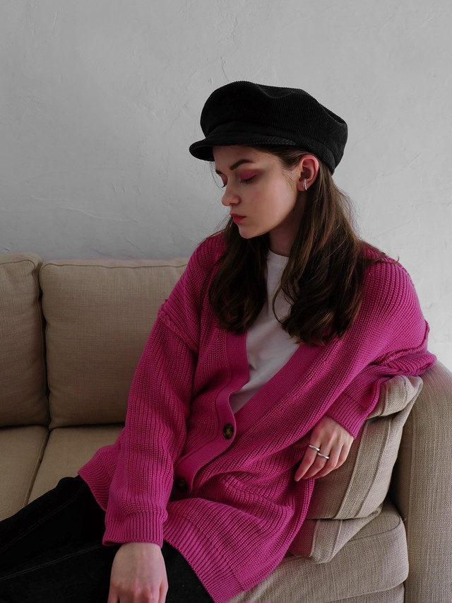 hand stitch knit cardigan(pink)