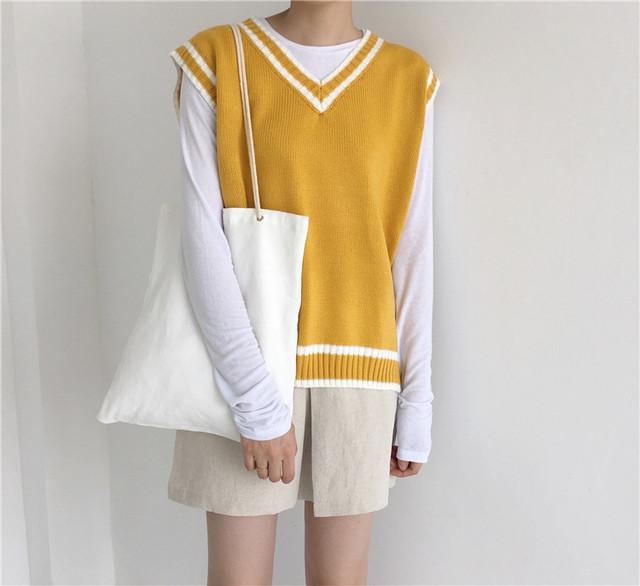 【tops】ベスト学園風3色Vネックニットルーズ配色ファッション着心地いい