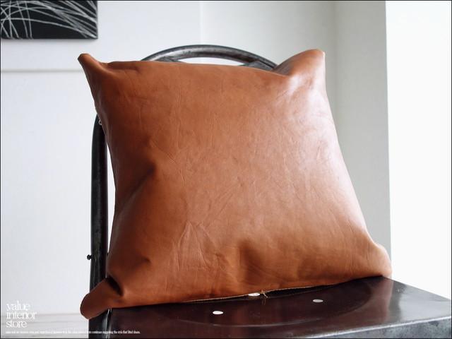 レザークッションカバーLB シンプル 本皮 牛革 正方形 手作り ハンドメイド 天然皮革 ライトブラウン