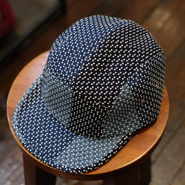 KUON(クオン) ネイビー襤褸裂き織り 5パネルキャップ