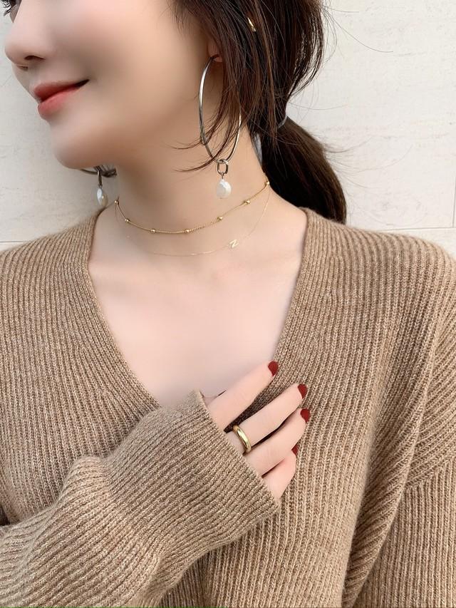 【予約】initial「N」skin jewelry necklace K10YG / yellow gold (12月下旬発送予定)