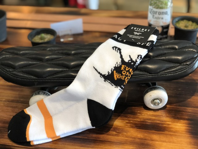 "EVILACT  CREW SOCKS ""EVIL ON WHEELS"""