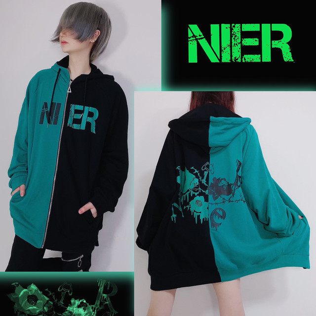 two-tone ZIP PARKA【GREEN ROSE】