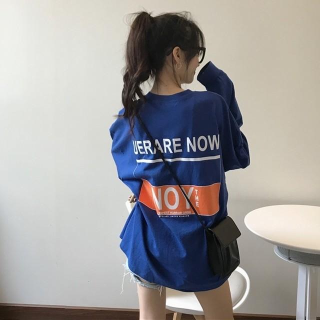 長袖 Tシャツ ロゴT プリントTシャツ ルーズ オーバーサイズ カジュアル ボーイッシュ ストリート 普段着 TP2509