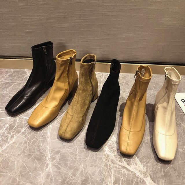 【シューズ】ファッションポインテッドトゥ暖かい簡約ショート丈ブーツ23997032