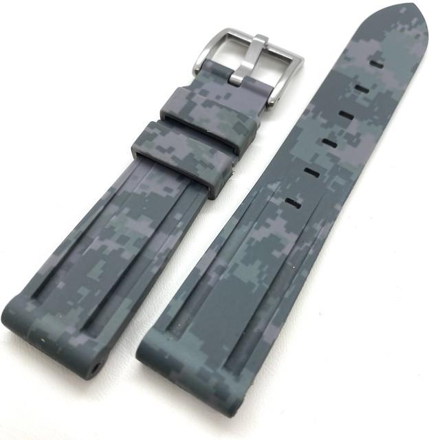 グレー デジタル・カモフラージュ ラバーストラップ 20/22mm 腕時計ベルト