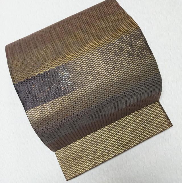 【締め跡なし】美品袋帯横段織出し金糸×銀糸×ココアブラウン六通