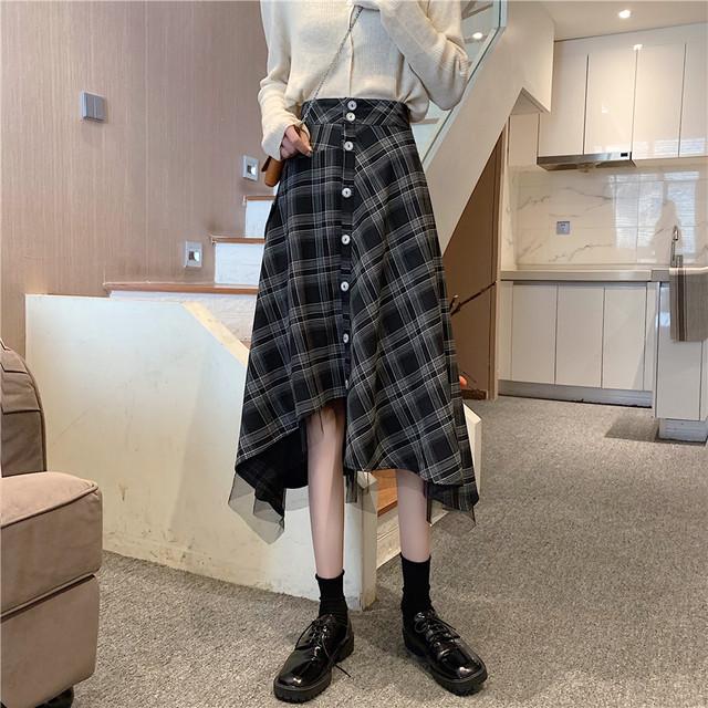 レディース サロペットスカート チェック柄 スカート SHQ550401