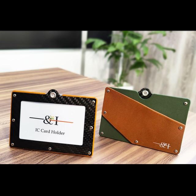カーボン×本革 IC CARD HOLDER ポケット付きタイプ