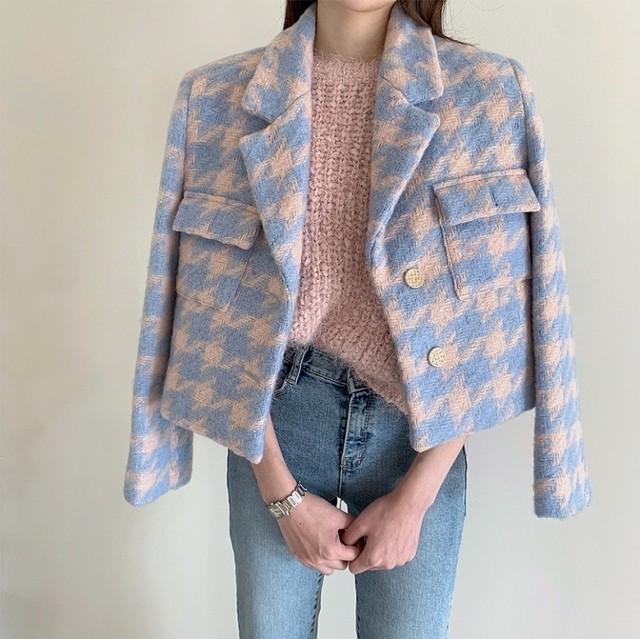 color pied jacket 2color