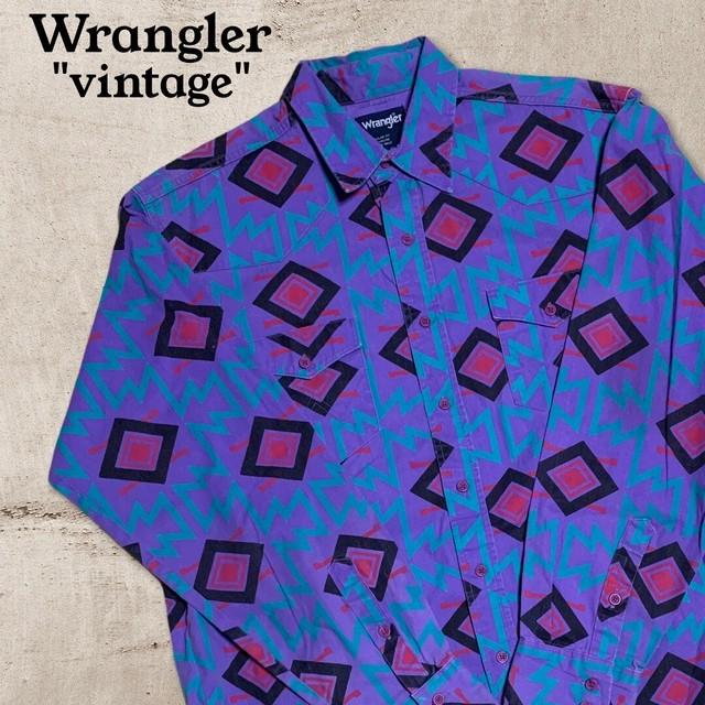 ヴィンテージ ラングラー パープル ビッグサイズ ウエスタン シャツ O233