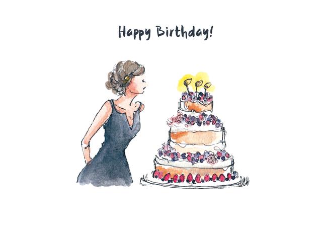 お誕生日 5枚セット(ピンクの封筒)