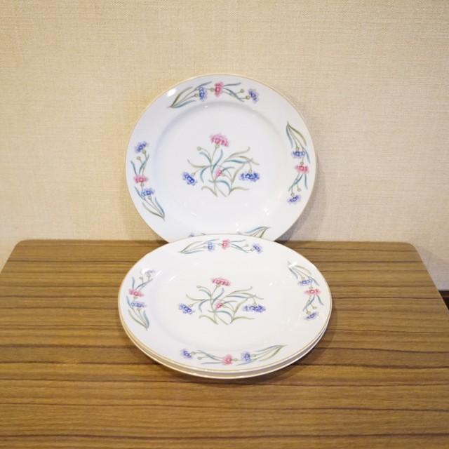 日本陶器会社 古い花柄のプレート3枚セット