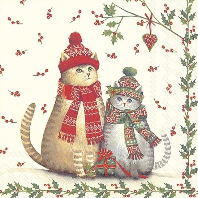 【IHR】バラ売り2枚 カクテルサイズ ペーパーナプキン CHRISTMAS CATS クリーム