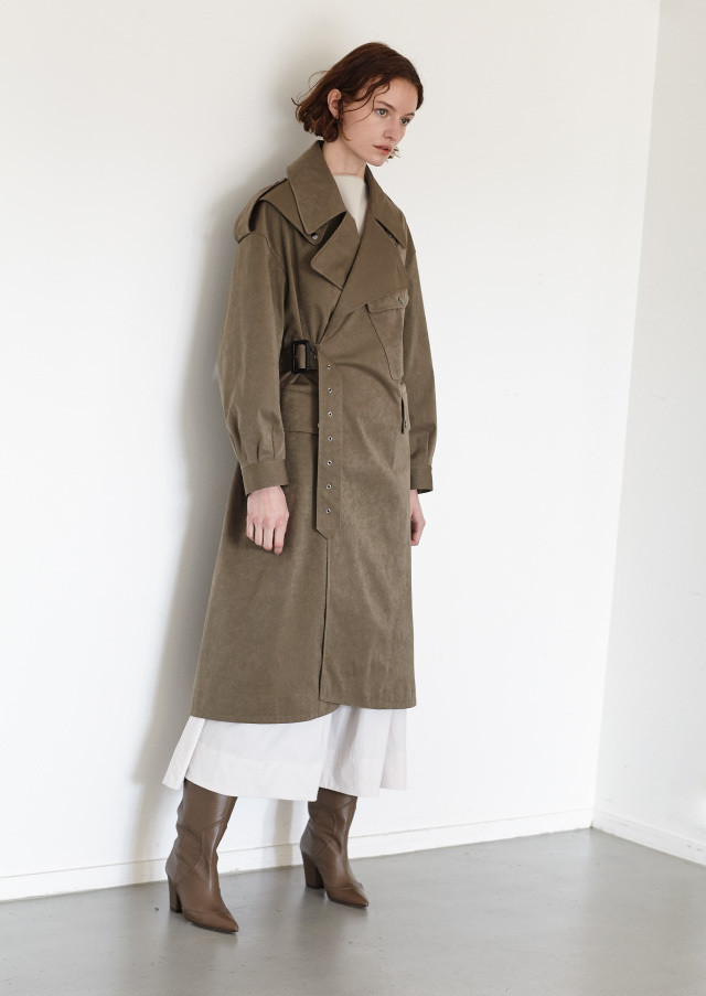 Peach skin trench coat
