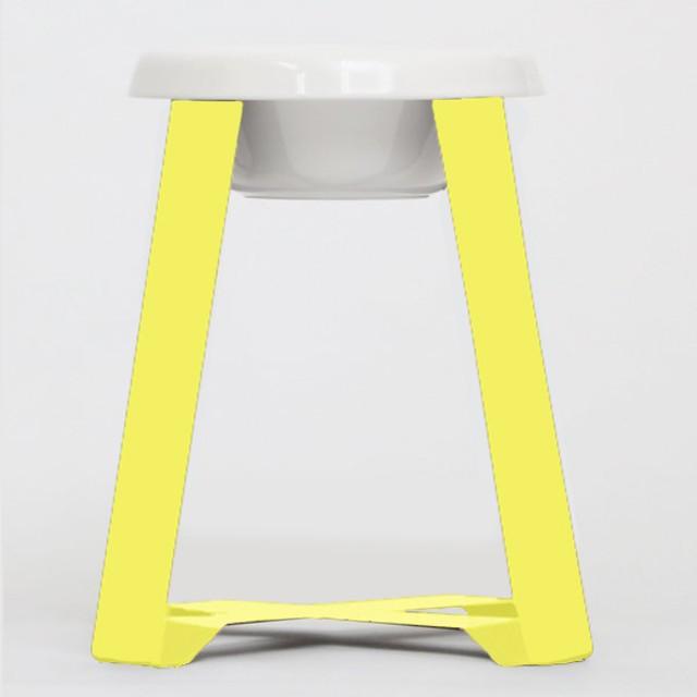 【予約】Pecolo Food Stand LLtallセット 犬の生活限定色カナリヤイエロー+フードボウル陶器深型