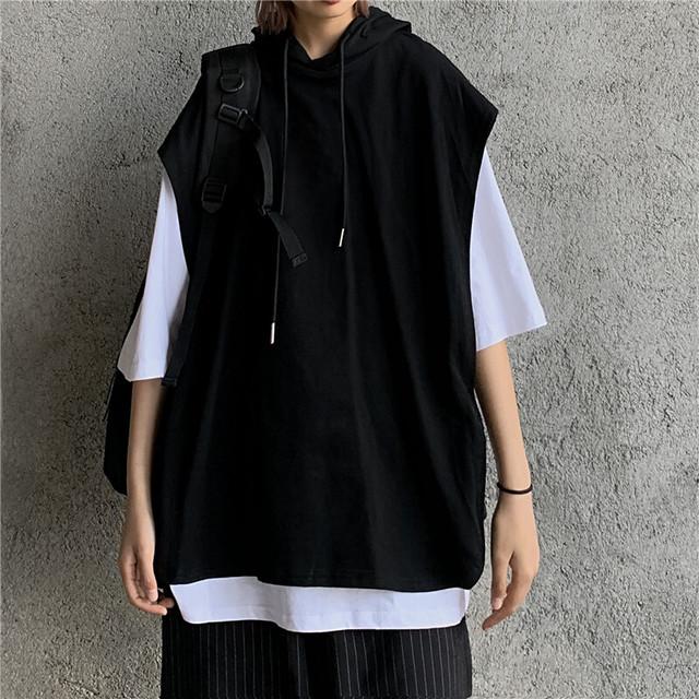 フェイクレイヤード フードベスト & Tシャツ 半袖 ストリートファッション カジュアル 韓国ファッション レディース フェイクツーピース パーカーベスト ストリート系 / Fake two-piece hooded loose top (DTC-617309764616)