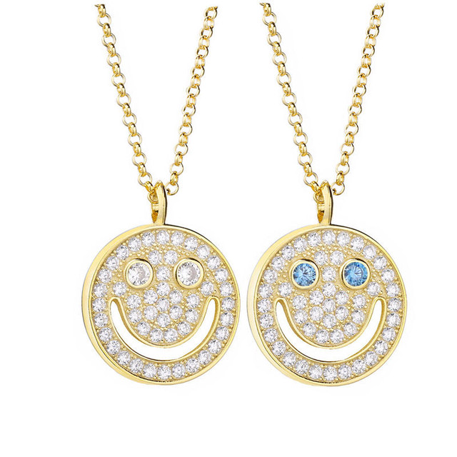 s925 Iced Out Smile Necklace 【24k GOLD】